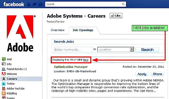 Careers tab on Facebook powered by myJoblinx