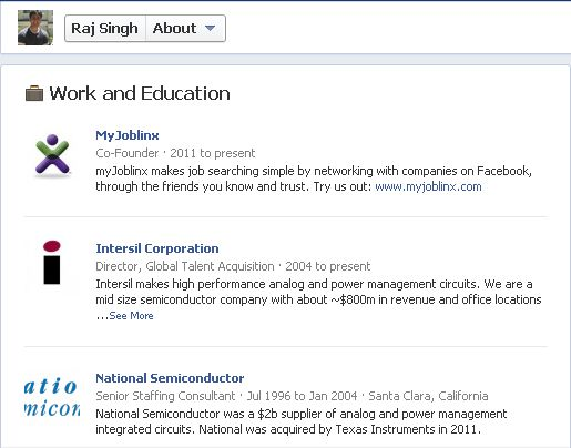Using Facebook for your job search by entering work and education